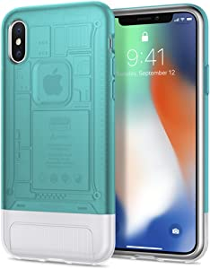 Spigen Classic C1 (10th Anniversary Limited Edition) [Retro] Designed for Apple iPhone X Case (2017) - Bondi Blue