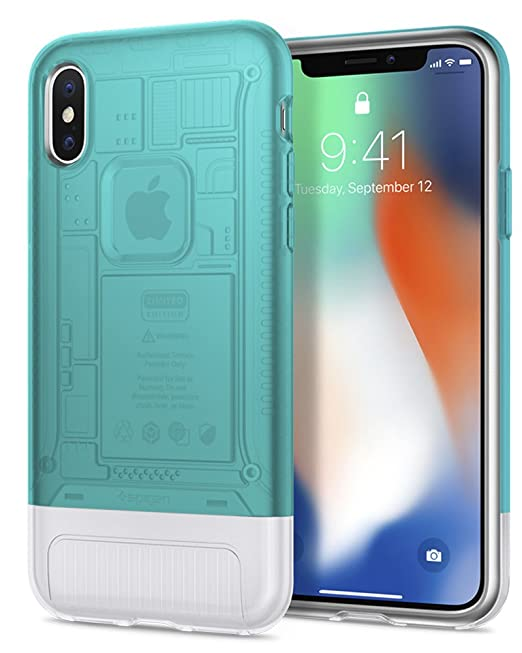 the best attitude 41f28 340cc Spigen Classic C1 (10th Anniversary Limited Edition) Designed for Apple  iPhone X Case (2017) - Bondi Blue