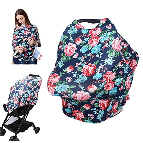 Nursing Breastfeeding Cover Scarf - Infant Baby Car Seat Canopy, Shopping Cart, High Chair, Stroller and Carseat Covers for Boys and Girls, Floral T-shirt Shawl for Mommy (Floral Car Seat Toddler Cover)