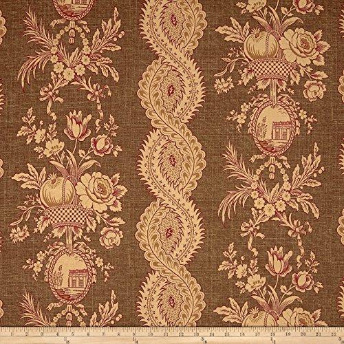 Tempro Fabrics Thibaut St.Tropez Floral Stripe Basketweave Brown Fabric by The Yard, (Tropez Stripe)
