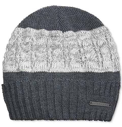 Sean John Cuffed Cable Knit Colorblock Beanie Charcoal Gray One Size Fits Most