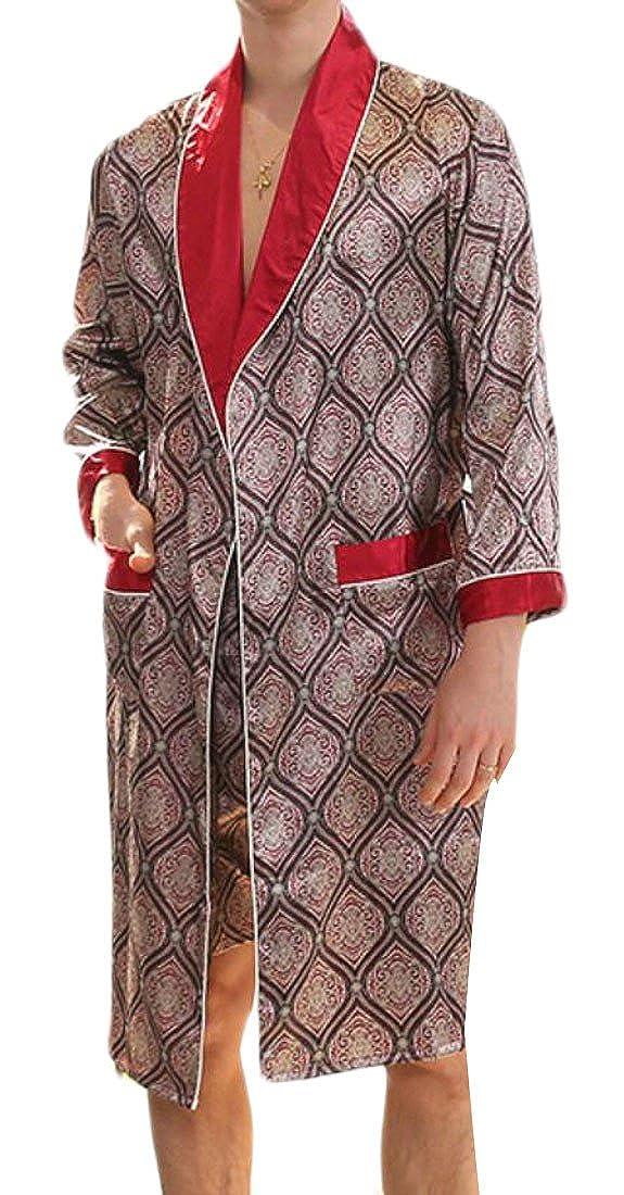 Agana Mens Long Sleeve Print Kimono Soft Thin Satin Spa Robe Bathrobe