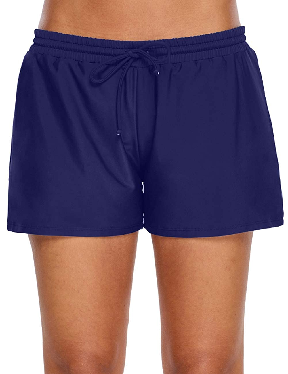 Bsubseach Womens Elastic Waistband Swimsuit Bottom Swimming Shorts Plus Size S-3XL