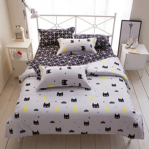 Beddingset Duvet Cover Set One Duvet Cover No Comforter One Flat Sheet Two Pillowcases 4pcs for Kids Children Twin Full Queen Size Superman Mask, Black (Twin, (Superman Full Comforter)