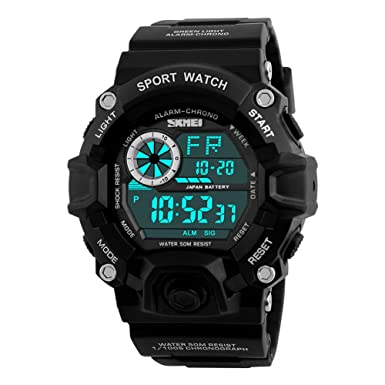 Mens Digital Sports Watches Waterproof LED Military Wrist Stop Watch for Men,Black Digital Watch