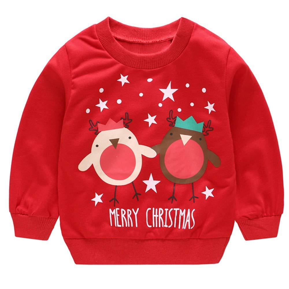 FeiliandaJJ Toddler Baby Boy Girls Long Sleeve Sweatshirt Tracksuit Kids Christmas Cartoon Print Pullover T Shirt Tops