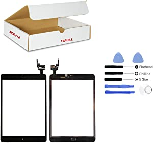 (md0410) BLACK Digitizer Glass Lens Touch Screen Full Complete Assembly with IC Chip Replacement Compatible for Ipad mini 3 A1599 A1600 (Camera Holder, Adhesive, Black Home Button Flex) Tools Kit