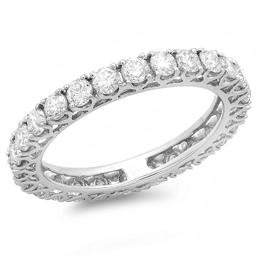 Dazzlingrock Collection 1.45 Carat (ctw) 14K Diamond Ladies Wedding Anniversary Band 1 1/2 CT, White Gold, Size 6.5