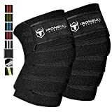 """Knee Wraps (1 Pair) - 80"""" Elastic Support & Compression - for Weightlifting, Powerlifting, Fitness, Crossfit WODs & Gym Workout - Knee Straps for Squats"""