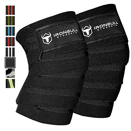 """Iron Bull Strength Knee Wraps (1 Pair) - 80"""" Elastic Knee and Elbow Support & Compression - for Weightlifting, Powerlifting, Fitness, WODs & Gym Workout - Knee Straps for Squats (Black)"""