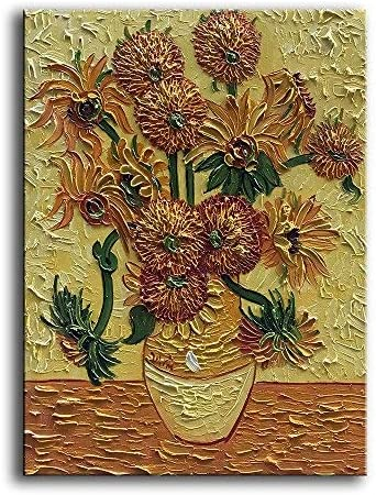 YaSheng Art – Handpainted Van Gogh Oil Paintings On Canvas Sunflower Flowers Artwork Pictures Home Office Decorations Painting Canvas Wall Art Painting Stretched Framed Ready to Hang 20x24inch