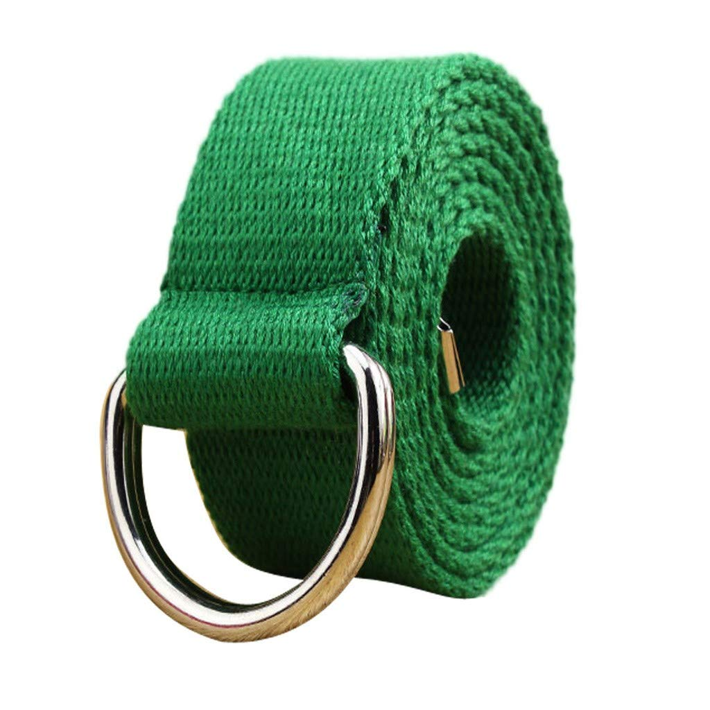 Toimothcn Canvas Web Double D Ring Belt Silver Buckle Military Style for Men /& Women