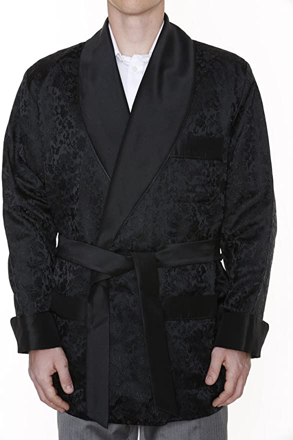 1940s Men's Costumes: WW2, Sailor, Zoot Suits, Gangsters, Detective Mens Smoking Jacket Ferdinand Black $199.95 AT vintagedancer.com