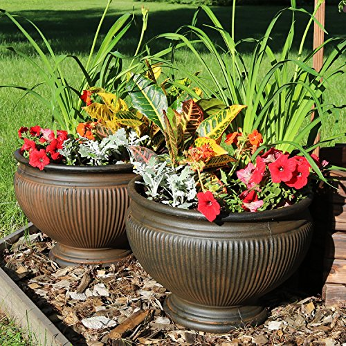 Sunnydaze Elizabeth Ribbed Urn Indoor/Outdoor Planter Pot Set of 2, Rust Finish, Polyresin, 16-Inch (Rust Urn)