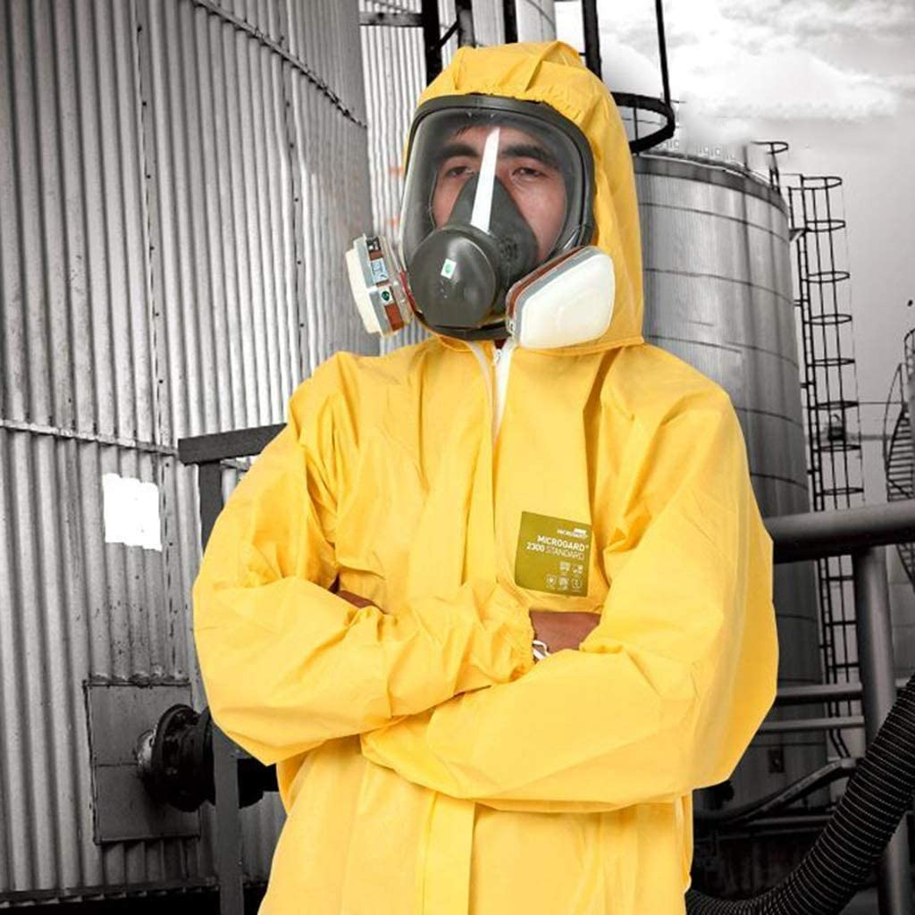Size: XL Protective Suit Overall Protective Safety Work Chemical Protective Clothing Dust-Proof Chemical Experiment with Pesticide Spray Coating CoverallsTYPE 5 6