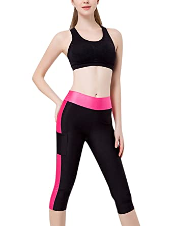 dddc145b3c0d3f Leoie Women s Quick-Dry Sports Fitness Pants Outdoor Matching Color Cropped  Trousers with Side Pockets