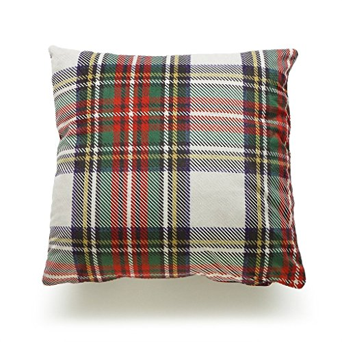 18 x 18 Inch Christmas Classic Gray Scottish Plaid Short Plush Decorative Holiday Cushion Case Love Cushion Case for Sofa (Drawings Christmas Scenery)
