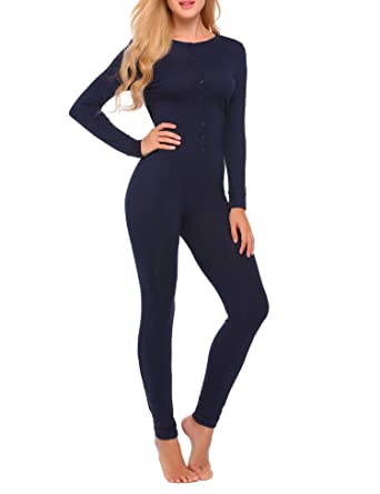 Ekouaer Bandage One Piece Pajama Romper Long Sleeve Jumpsuit Sleepwear For  Women f84f80e2a