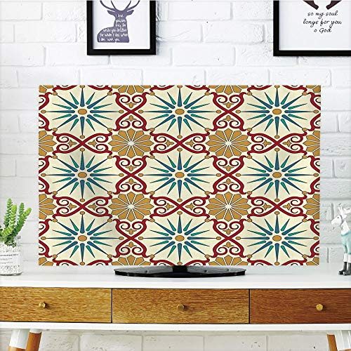 iPrint LCD TV Cover Lovely,Moroccan,Eastern Sacred Geometry Art Figures with Classical Damask Ornate Elements Image,Mustard Beige,Diversified Design Compatible 42