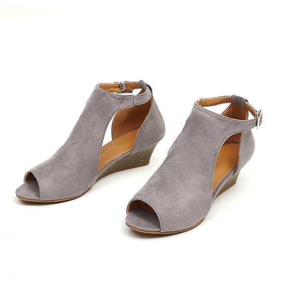 LILICAT✈✈ 2019 Malla de tacón alto gruesa con encaje zapatos boca boca zapatos Zapatillas Moda Mujer Zip Damas Tobillo Tacones Casual Punta abierta Encaje ...