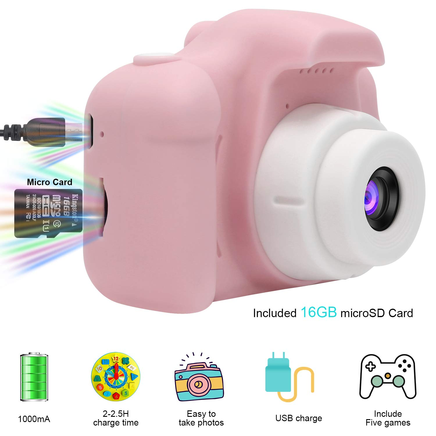 DDGG Kids Digital Camera for Girls Age 3-10,Toddler Cameras Child Camcorder Mini Cartoon Pink Rechargeable Camera Shockproof 8MP HD Children Video Record Camera (16GB Memory Card Included) by DDGG (Image #3)