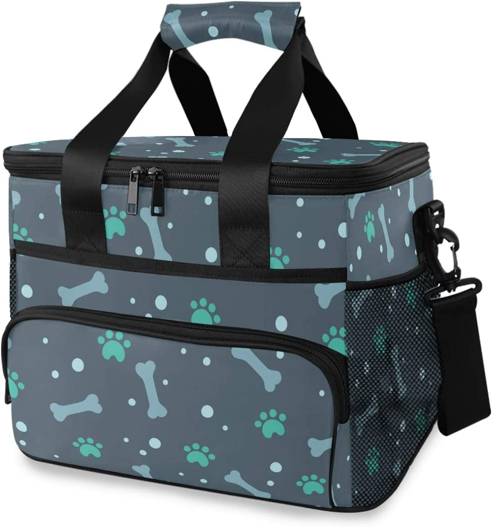 Picnic Lunch Bag Green Dog Paw And Bone Prints Thermal Cooler Shoulder Strap Portable Box Meal Food Container Insulated Lunch Tote Travel Office School