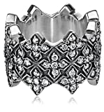 King Baby Triple Stacked Cubic Zirconia Mb Cross Ring, 7