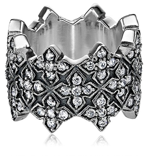 King Baby Triple Stacked Cubic Zirconia Mb Cross Ring, 7 by King Baby