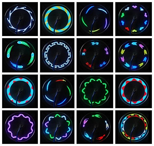 AIKELIDA Bike Wheel Lights Waterproof Ultra Bright 14 LED Bicycle Wheel Spoke Decorations Light 30 Different Patterns Change Colorful Bicycle Tire Accessories Easy To Install