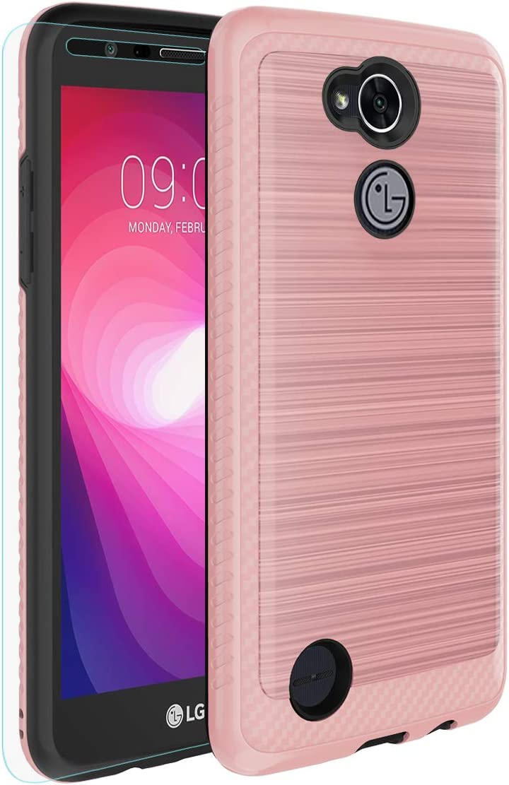 LG X Power 2 / Fiesta 2 / X Charge/Fiesta LTE, Full-Body Dual Layers Cover with [Tempered Glass Screen Protector Included] Protective Cover Shell for LG X Power 2-Rose Gold