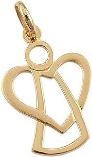 Ciondolo a forma di cuore con angelo custode, in oro giallo 585, 14 carati, codice articolo 626001281