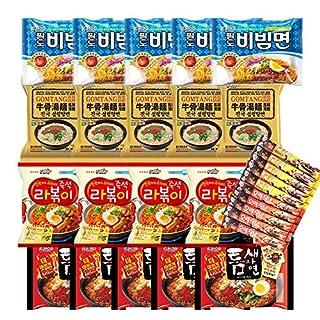 Korean Hit K-Foods Instant Noodle Ramen Variety Pack w/ Instant Coffee Mix Stick Box, Bibimmen, Gomtang, Rabokki, Teumsae Ramen