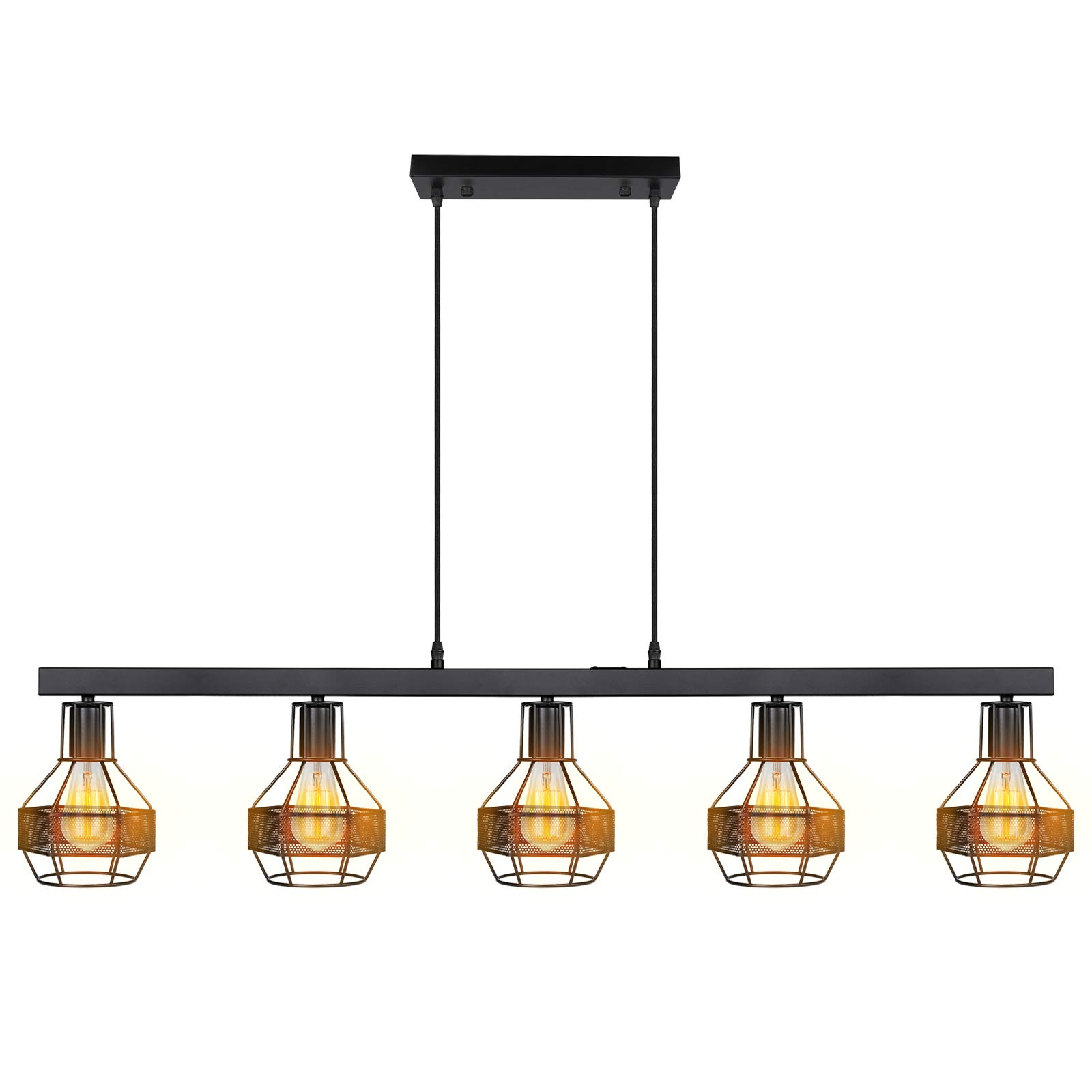 Paragon Home Black Metal Long Kitchen Island Light, 43.3''L x 9.06''H, 70''H Adjustable Length, Dining Room Chandelier, Pendant Light Fixture, Kitchen Light Fixtures with E26 Sockets (Bulbs Not Included)