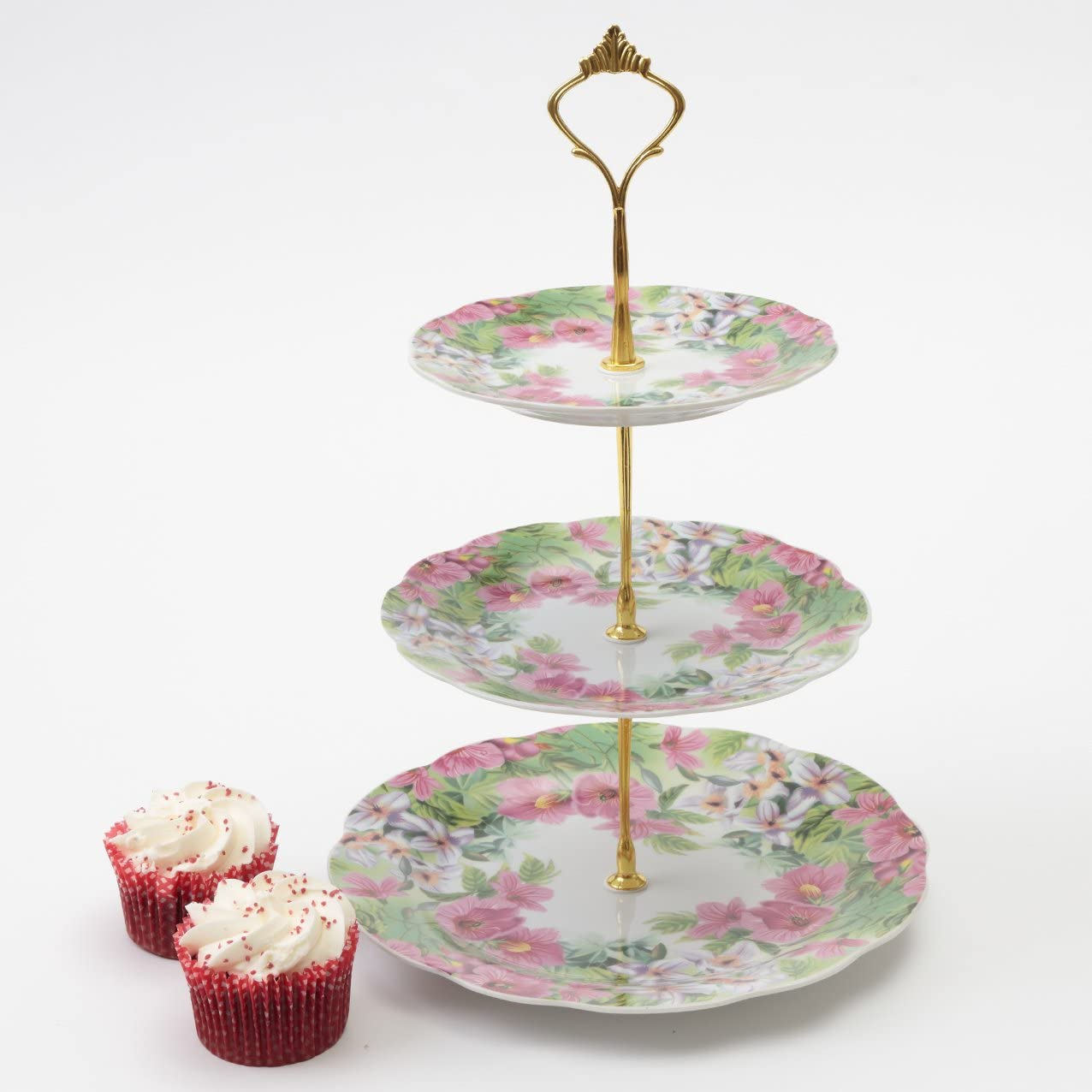 Vintage 3 Tier Floral Ceramic Cake Display Stand Sponges Sandwiches Cup Cakes Round Serving Plate Flowers