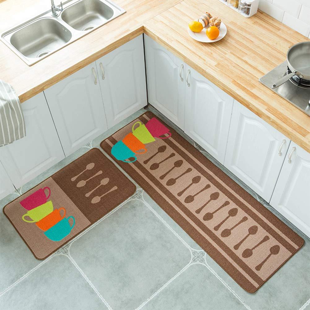 Fidgetgear 2pcs set kitchen mat rubber backing doormat runner rug set simple cartoon printed non slip floor mat carpet for kitchen door four color spoon