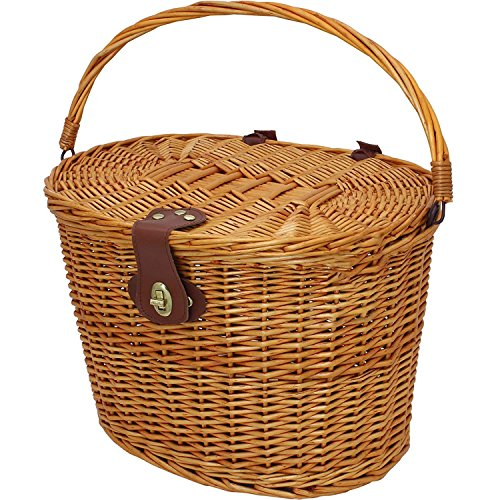 Toogoo Vintage Wicker Bicycle Basket with Folding Lid & Leather Straps -