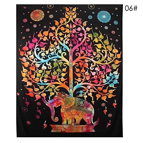 Indian Decor Mandala Tapestry Wall Hanging Hippie Throw Bohemian Twin Bedspread Fantasy Orange Tree