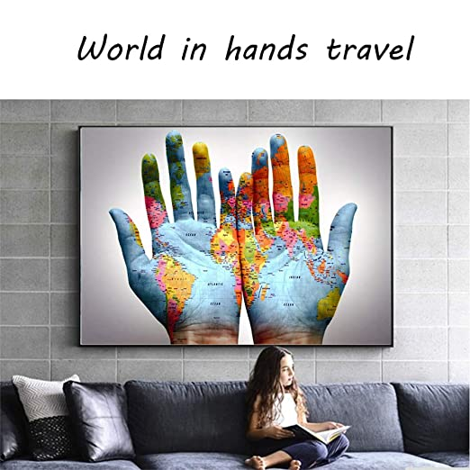 tzxdbh HD Canvas Painting Prints Poster World Map In Hands ...