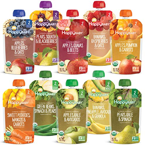Happy Baby Organics Baby Food, Fruit Veggie Variety Pack, 4 Ounce Pouch (Pack of 10)