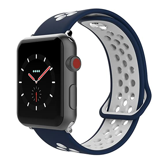 big sale 51c22 02ba5 SIXRARI Compatible for Apple Watch Band 42mm 44mm, Soft Silicone Sport  Bands Replacement Wrist Strap