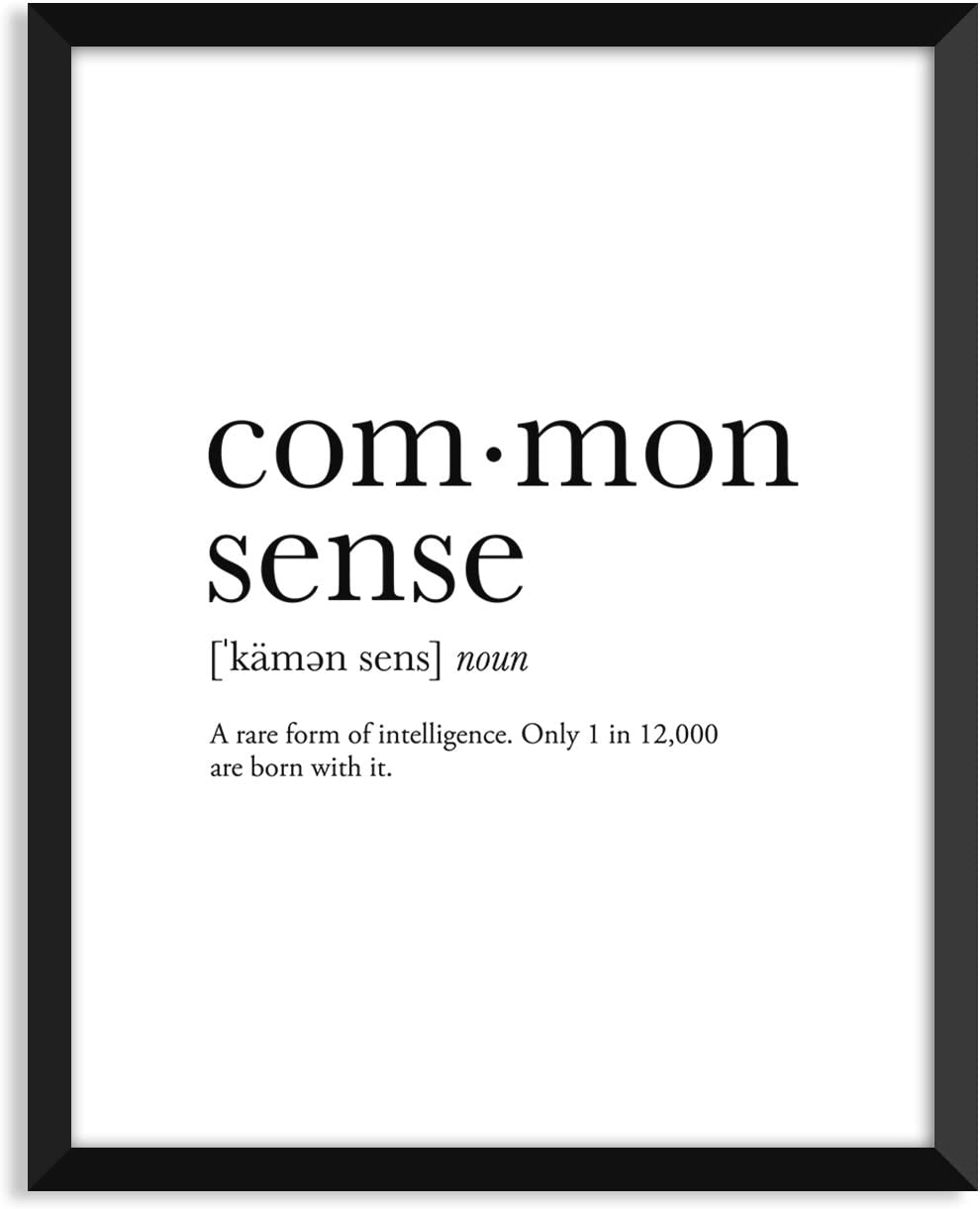 Common Sense definition, college dorm room decor, dorm wall art, dictionary art print, office decor, minimalist poster, funny definition print, definition poster, inspirational quotes