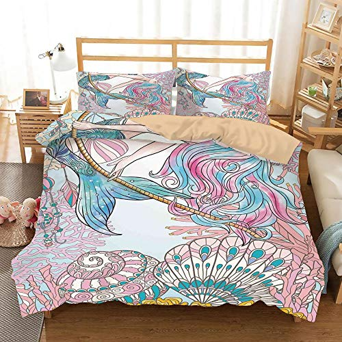 Mermaid Khaki Duvet Cover Set Full/Queen Size,Cartoon Mermaid in Sea Sirens of Greek Myth Female Human with Tail of Fish Image,Decorative 3 Piece Bedding Set with 2 Pillow Shams,Pink Blue