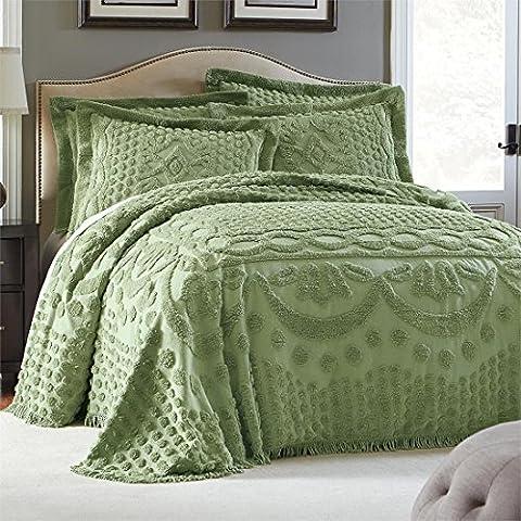 Brylanehome Georgia Cotton Throw Bedspread (Sage,King) - Sage Green Chenille