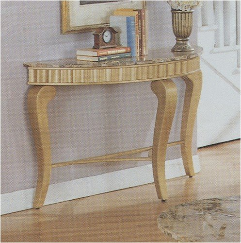 Neo Classic Console Sofa Table in gold marble solid hardwood