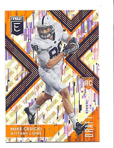 MIKE GESICKI 2018 Panini Elite Draft Picks #132 (white jersey) Aspirations Orange Parallel Rookie Card RC Penn State Nittany Lions Miami Dolphins Football