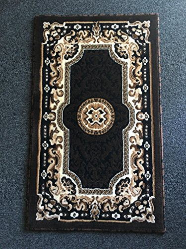 Traditional Entryway (Traditional Door Mat Persian Area Rug Black Design D123 (2 Feet X 3 Feet 4 inches))