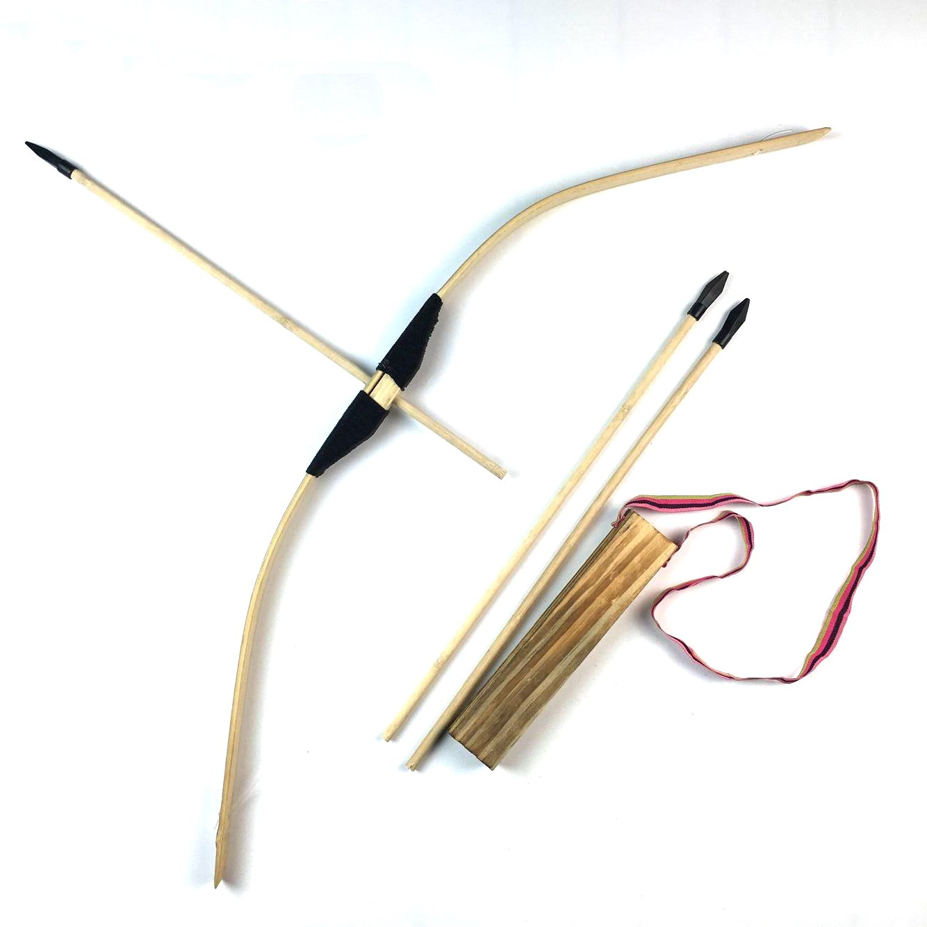 MAYMII train play Kid child Bamboo & Wood Bow and Arrow & Quiver Set 3 safe Arrows
