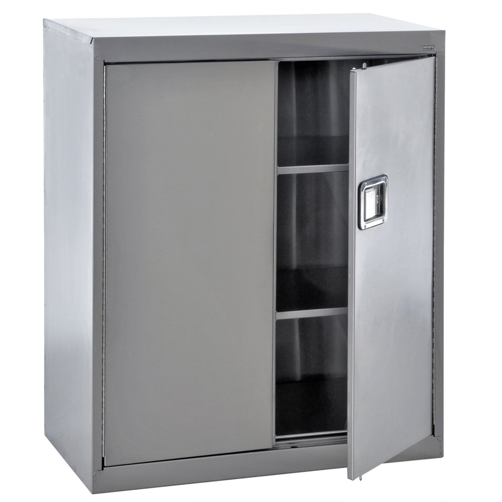 Sandusky Lee SA2D361842-XX 304 Stainless Steel Storage Cabinet with Paddle Lock, 42'' Height x 36'' Width x 18'' Depth