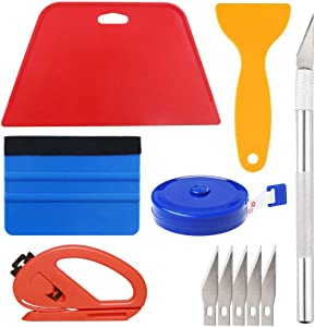 Wallpaper Smoothing Tool Kit Include red Squeegee,Medium-Hardness Squeegee, Black Tape Measure,snitty Vinyl Cutter and Craft Knife with 5 Replacement Blades for Adhesive Contact Paper Application Win