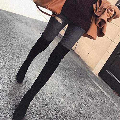 Women And Knee Elastic Shukun Winter Thick Heel Black High Thin Botines The Boots Over qwZ7v